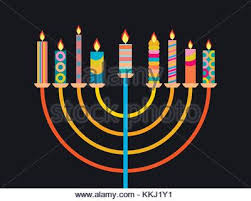 hanukkah candles colors nine candles hebrew menorah illustration isolated stock photo