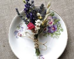 wedding oats boutonniere or corsage of dried lavender daisies ferns oats