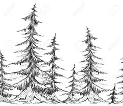 seamless border with pencil sketch trees vector element for