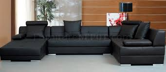 Black Leather Sofa With Chaise Black Leather Modern Sectional Sofa W Throw Pillows