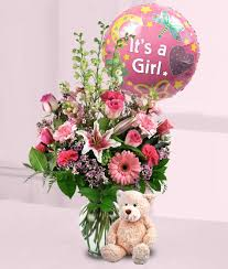flowers and balloons new baby girl bouquet