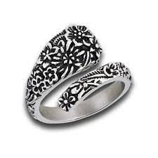 style steel rings images Spoon ring antiqued victorian flower motif retro vintage style jpg
