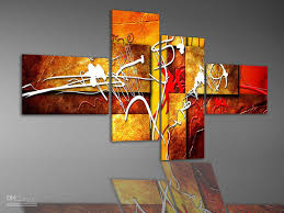 2017 hand painted wall art warm color red white fly line home