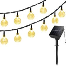 Solar Led Patio String Lights Outdoor Charming Christmas Solar Globe String Lights Crystal