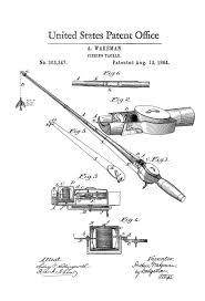 fishing tackle patent 1884 patent print wall decor fishing rod
