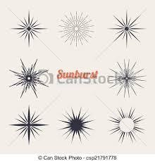 Starburst Design Clip Art Vectors Illustration Of Vintage Sunburst Design Elements