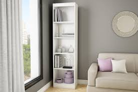 White Bookcases With Glass Doors by Axess 5 Shelf Narrow Bookcase Pure White Home Furniture Home