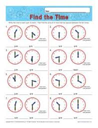 find the time elapsed time worksheets with clocks