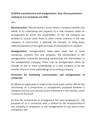 reconstruction and amalgamation and its provision in companies