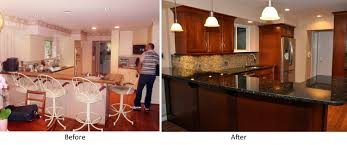kitchen before and after kitchen renovation with refacing white