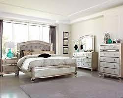 Mirror Bed Frame Glamorous Metallic Platinum Mirrored Bed N S Dresser Mirror