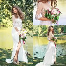 thigh split bohemian sheath wedding dresses 2017 sheer long