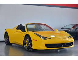 ferrari yellow 2014 yellow ferrari 458 spider base convertible