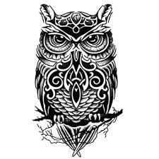 amazon com cool owl pattern tattoos body tattoo stickers