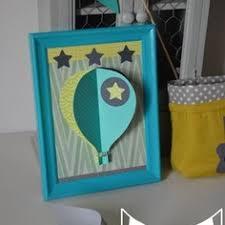 cadre photo chambre bébé illustration enfant tableau cadre montgolfière 3d vert anis
