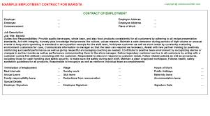 barista employment contract