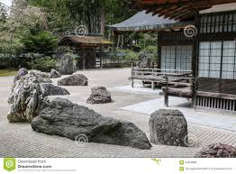 traditional japanese zen garden with stones stock photo image