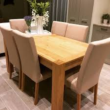 Solid Oak Dining Room Table Solid Pine Dining Table And Chairs Picclick Uk Solid Wood Dining