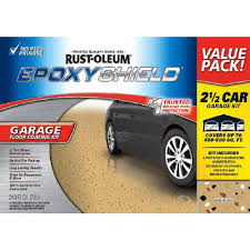 rust oleum epoxyshield 240 oz tan high gloss 2 5 car garage floor
