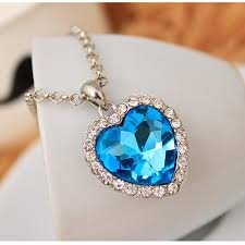 heart necklace from titanic images Head turning heart shaped titanic movie blue pendant necklace jpg