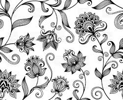 graphic floral background with black ornamental flowers seamless