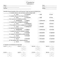Science Worksheets Grade 7 2nd Periodical Test Math