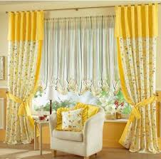Yellow White Curtains Yellow White Floral Curtains With Stripped Blinds For Glass