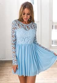 light blue long sleeve dress light blue long sleeve crochet tulle skater dress by xenia boutique