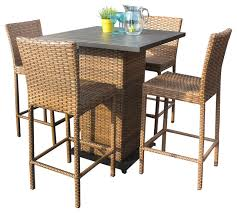 Pub Table Set Tuscan Outdoor Wicker Pub Table With Bar Stools 5 Piece Set