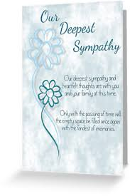 greeting card words of our deepest sympathy blue sketched flowers with sentiment words