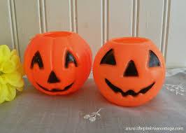 plastic pumpkins two vintage mini plastic pumpkins treats party favor buckets the