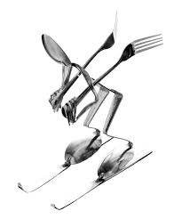 spoon downhill skier sculpture art pinterest metals