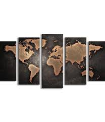 World Map Home Decor 5 Panel World Map Oil Painting U2013 Travel Bible Shop