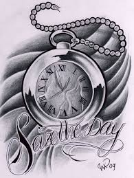 seize the day clock tattoo design photos pictures and sketches