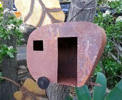 rustic bird house trailer metal yard art metal yard art