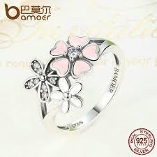 sted rings bamoer 925 sterling silver pink flower poetic cherry blossom
