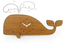 bamboo wood whale wall clock feelgift