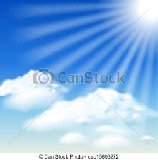 clouds and sun rays in the blue sky vectors illustration search