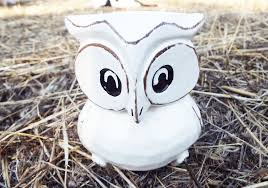 owl figurine wooden handmade ornament