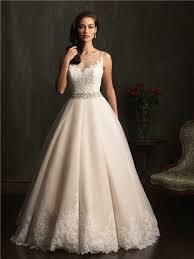 lace wedding dress with belt gown sheer illusion neckline chagne lace tulle wedding dress
