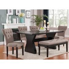 dining room set with bench acme united modern comfort style 6pcs dining set effie collection