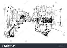 sketch cityscape india show transportation moto stock vector