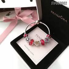 luxury bracelet images Authentic pandora luxury bangle charm bracelet with 7pcs red theme JPG
