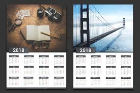 Calendar 2018 Ai Template 2018 Calendar Stationery Templates Creative Market