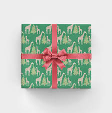 flat christmas wrapping paper tree trimming giraffes christmas gift wrap 3 flat sheets