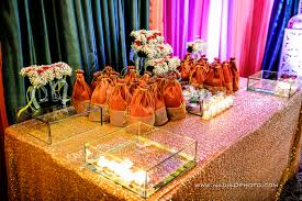 ladies sangeet gift table churiyan mehndi favors fresh flower