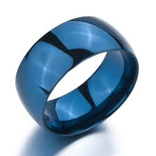 stainless steel rings for men inblue men women s wide 10mm stainless steel ring band blue