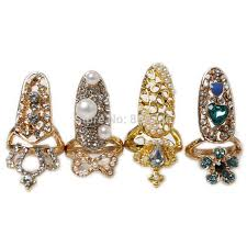 golden flower rings images Hot fashion crown bowknot crystal finger nail art rings women jpg