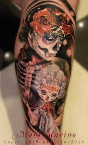 skeleton and creepy doll tattoomodels day of the dead