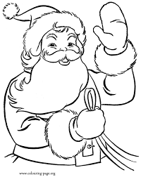 christmas santa claus waving kids coloring
